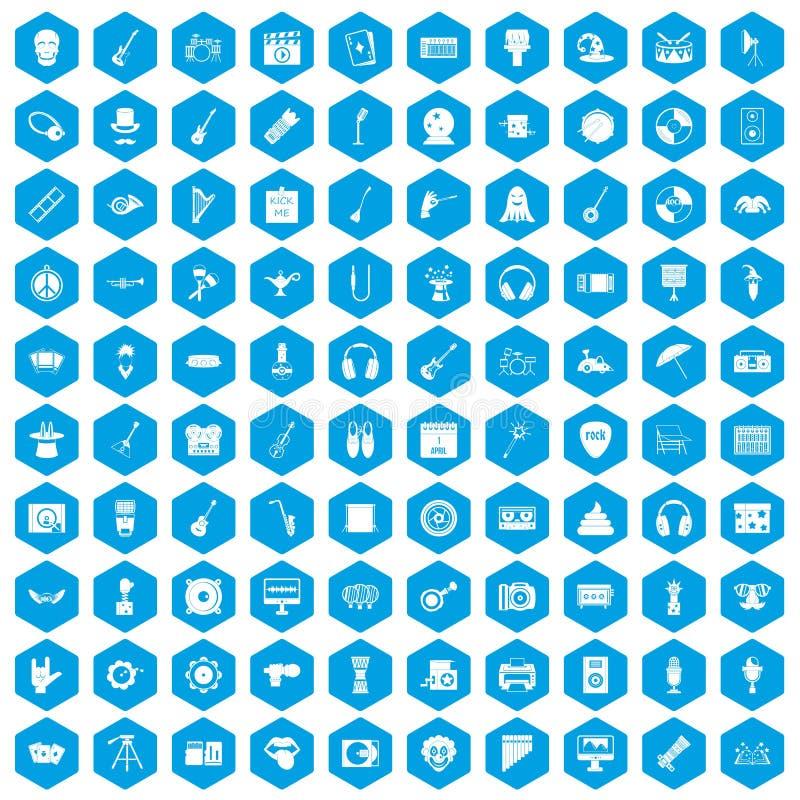 100 show biznes ikon ustawiają błękit ilustracji