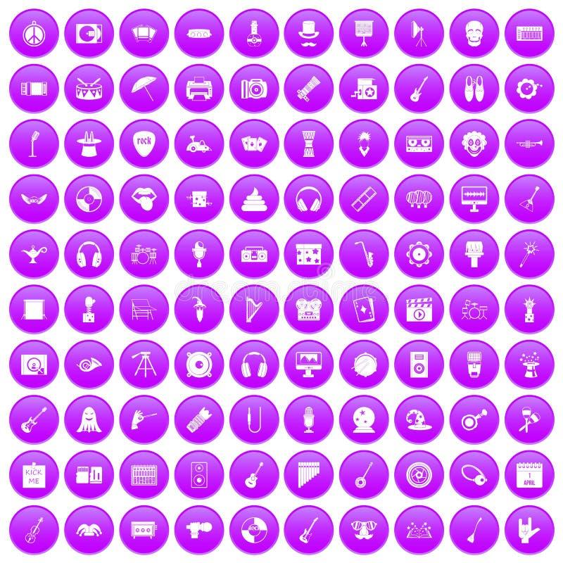 100 show biznes ikony ustawiających purpur ilustracja wektor