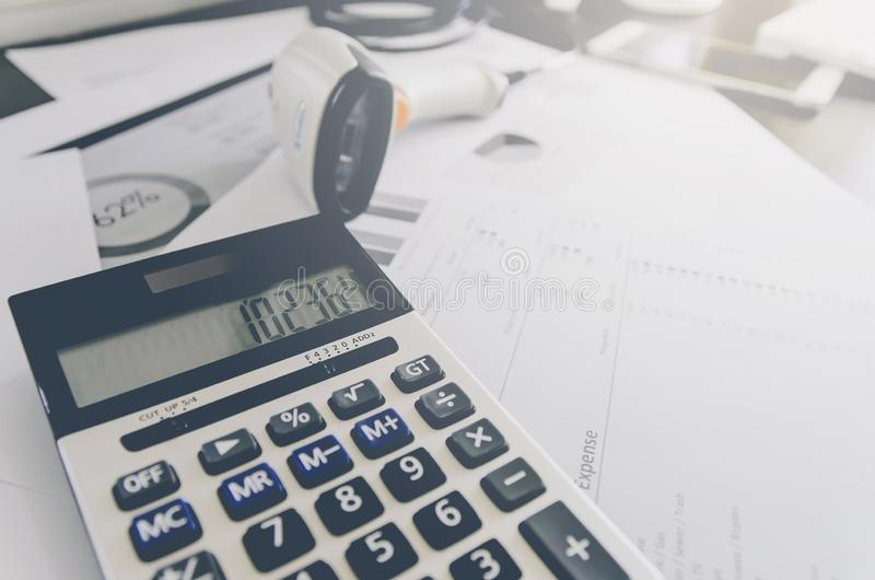 Business concept of financial and accounting with paper sheet of planning data. Show the business concept of financial and accounting, Finance report and royalty free stock images