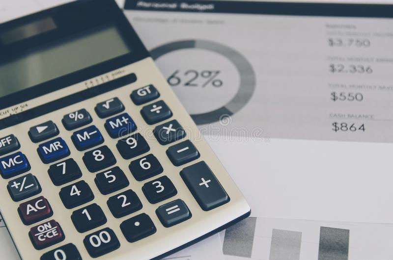 Business concept of financial and accounting with paper sheet of planning data. Show the business concept of financial and accounting, Finance report and stock photo