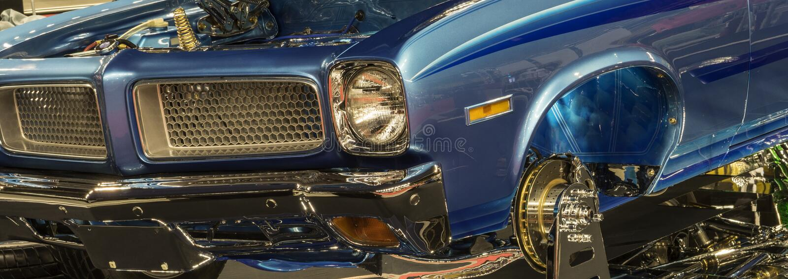Show car front end. Picture of beautiful blue show car front end - web banner stock photo