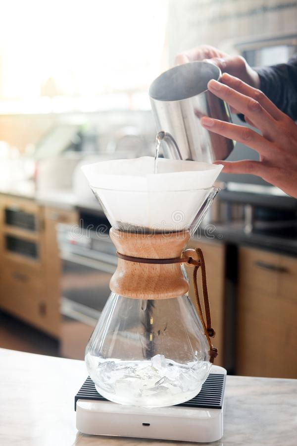 Show of drip coffee. In coffee shop. Selective focus stock images