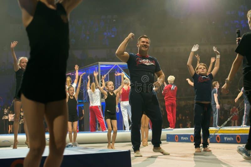"Show ends. MOSCOW, RUSSIA - NOVEMBER 16-17, 2018: Legendary gymnast Aleksey Nemov at the Alexey Nemov`s show ""Legends of Sport"" stock image"
