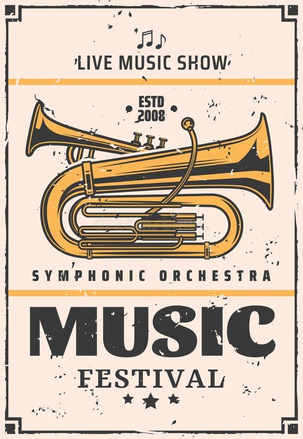 Show för levande musik och festival, vektortrumpet stock illustrationer