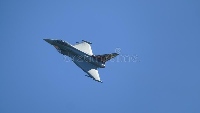 Show flight of a hunting plane. stock photography