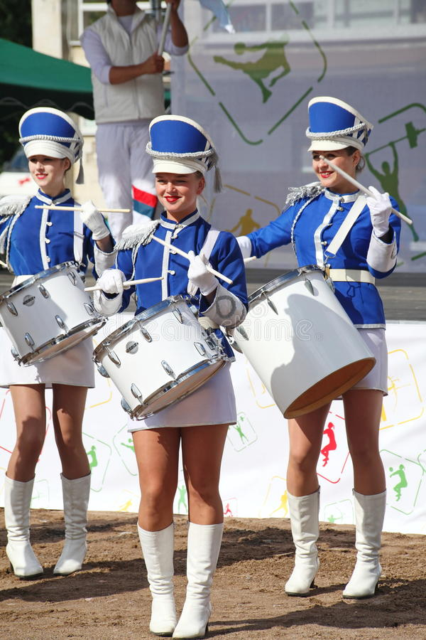 Show-group of drummers in blue uniform of the Royal lancers. Show-group of drummers Malaya Okhta is a group with powerful energy, gorgeous costumes and a live stock photography