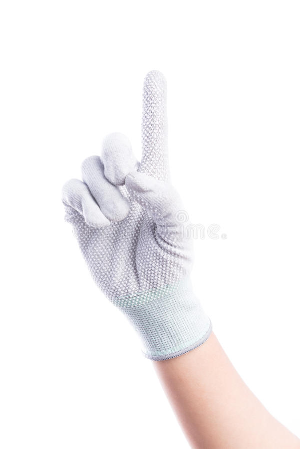 Show Hands one finger with cotton gloves stock photography