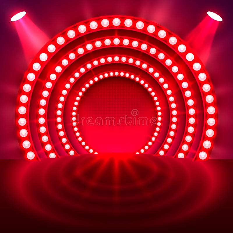 Show light podium red background. royalty free illustration