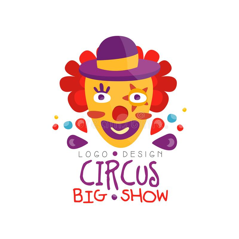 Show-Logoentwurf des Zirkusses kann großer, der Karneval, festlich, Showaufkleber, Ausweis, Gestaltungselement mit lustigem Clown lizenzfreie abbildung