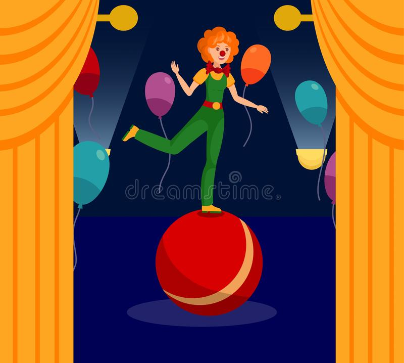 Show Night, Event at Circus Vector Illustration. Young Woman in Clown Costume and Funny Wig Cartoon Character. Cheerful Entertainer Performing Stunt, Trick stock illustration