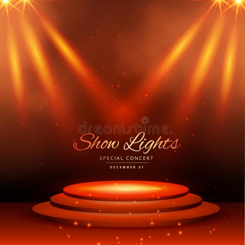 Show spot lights with podium background vector illustration