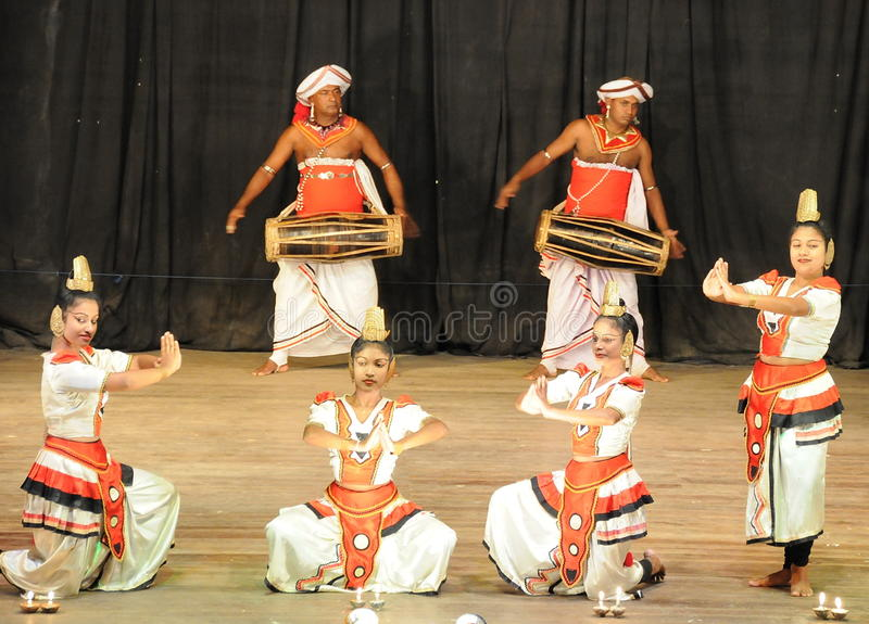Show in traditional Sri Lankian theatre — drum, dance and singing. stock photography