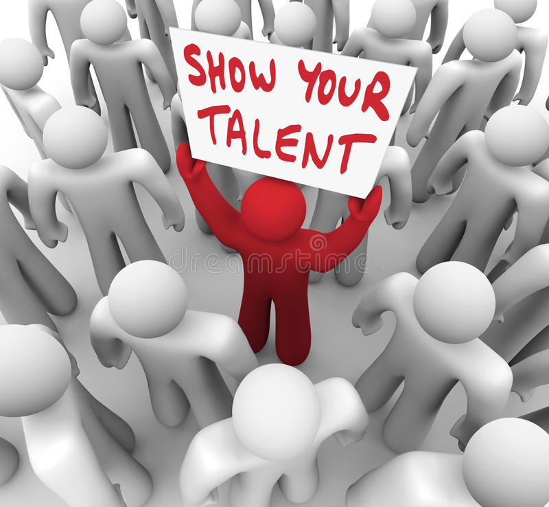 Show Your Talent Person Holding Sign Display Skills Abilities stock illustration