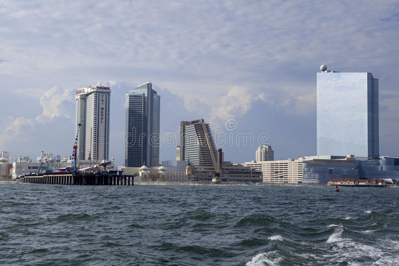 Showboat, Taj Mahal en Revel Casino in Atlantic City stock afbeeldingen