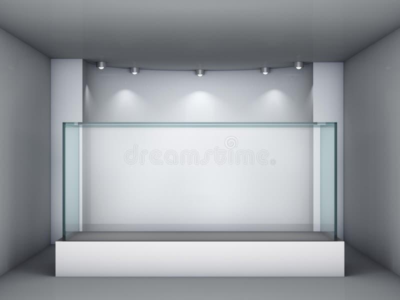 showcase 3d e ameia de vidro com projectores ilustração royalty free