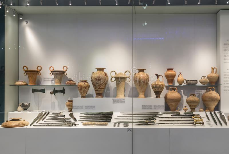 Showcase of artifacts in the Archaeological Museum in Heraklion, Crete,. Greece royalty free stock image