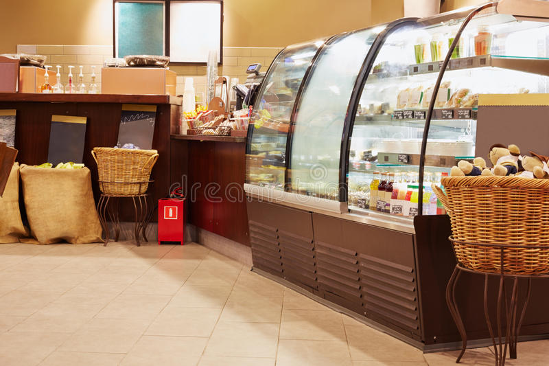Showcase in cafeteria stock images