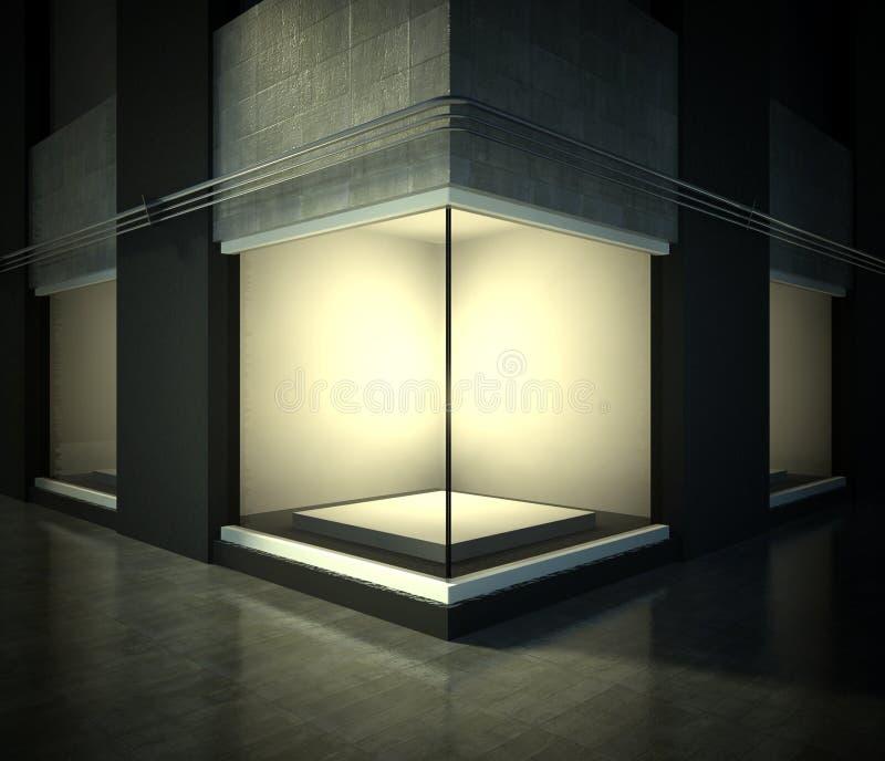 Showcase de vidro vazio, espaço da exposição na rua ilustração stock