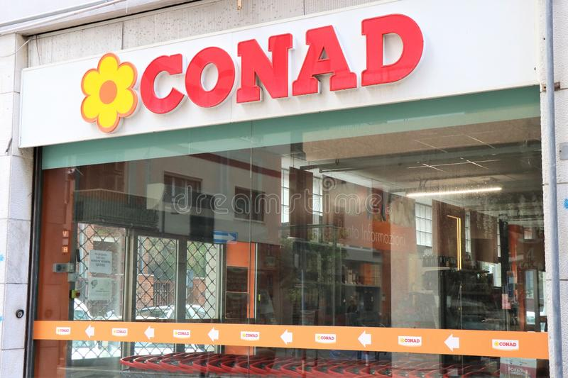 Showcase and signage of a Conad Store royalty free stock photography