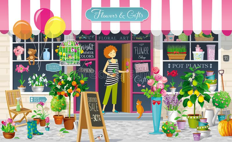 Showcase of the Flower Shop vector drawing stock illustration