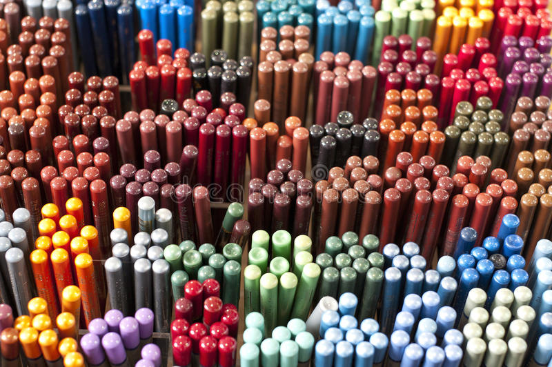 Showcase full of multicolored eye-makeup stock photo