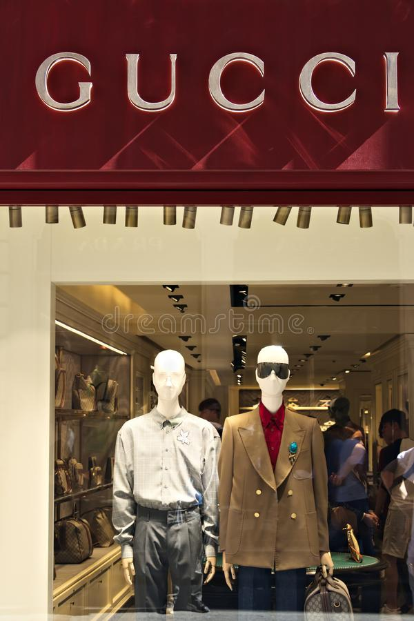 Showcase of the Gucci store in Via Condotti royalty free stock images
