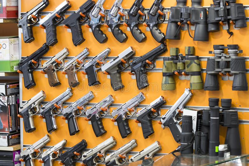 Showcase of a gun shop in Istanbul at a weapons store on the Galata Bridge. royalty free stock photos
