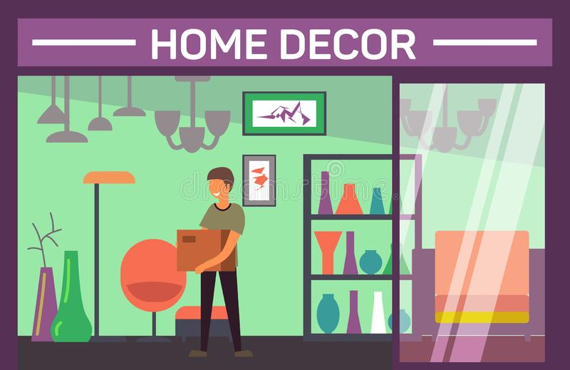 House decor shop with buyer and home accessories stock illustration