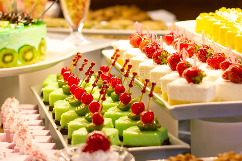 Showcase with  many cakes, Turkish sweets.  royalty free stock photos
