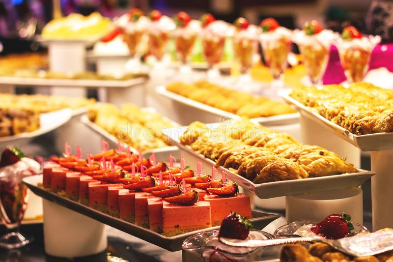 Showcase with  many cakes, Turkish sweets.  royalty free stock images