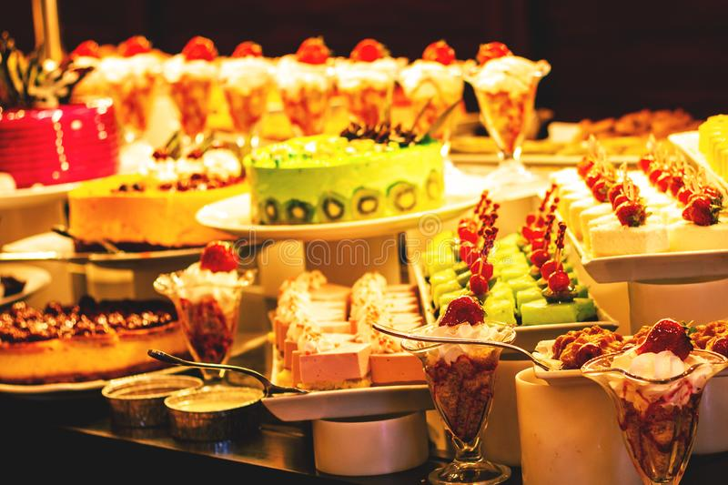 Showcase with  many cakes, Turkish sweets.  stock photos