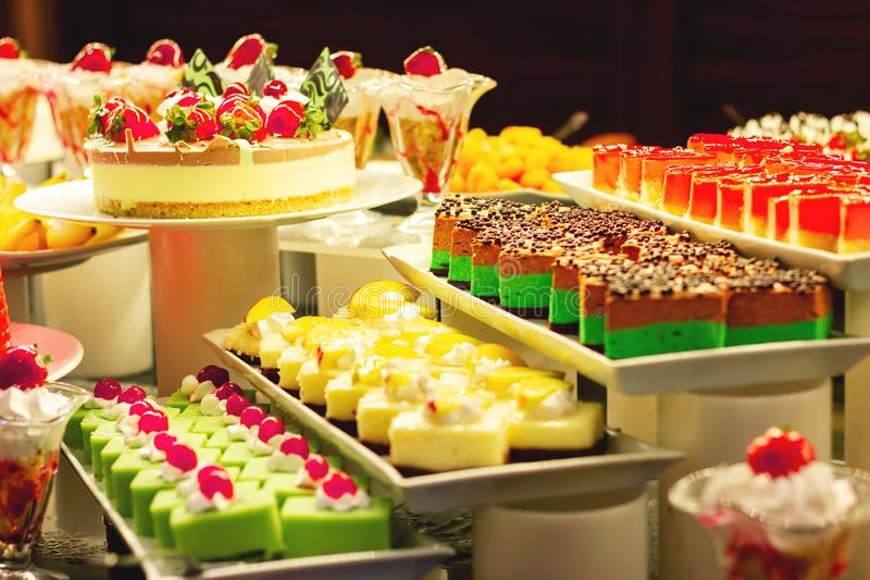 Showcase with  many cakes, Turkish sweets.  stock photo