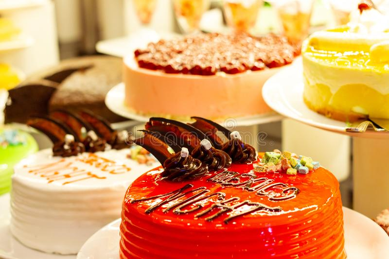 Showcase with  many cakes, Turkish sweets.  royalty free stock image