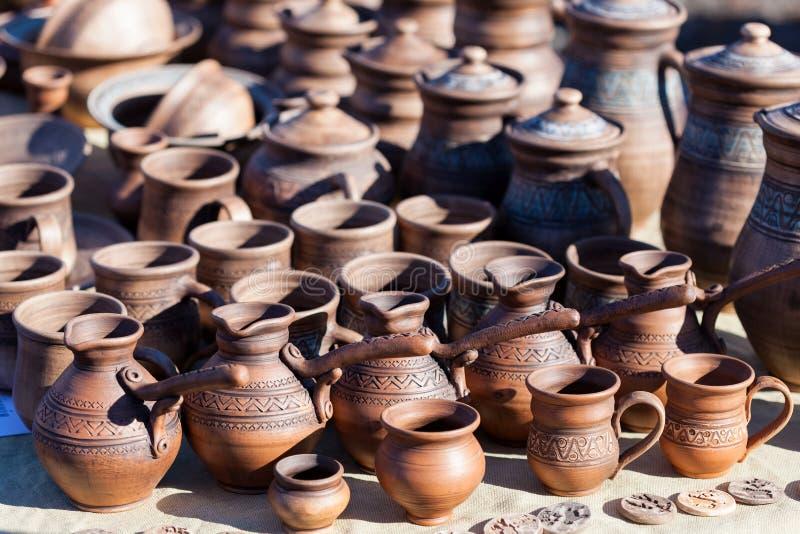 Showcase pottery handmade royalty free stock photography