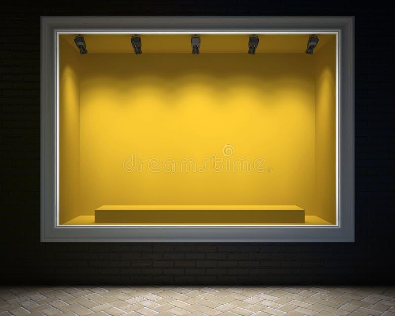 Showcase vazio de uma loja na luz da noite ilustração do vetor
