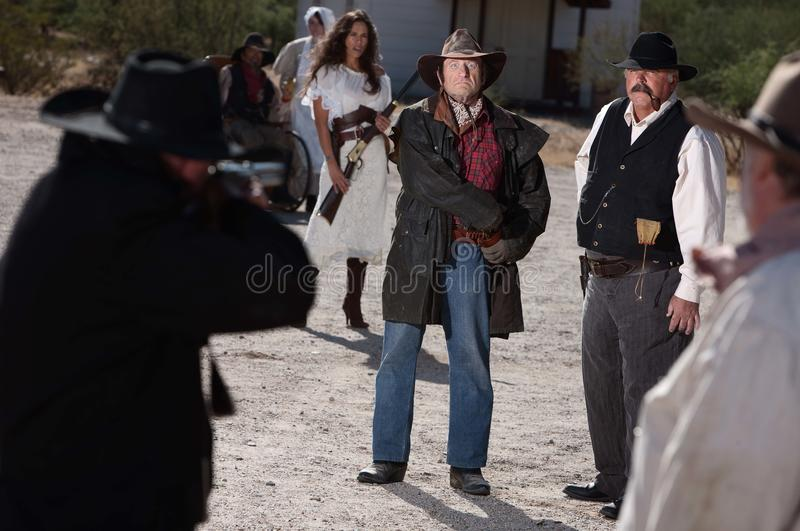 Showdown in Old West royalty free stock photo