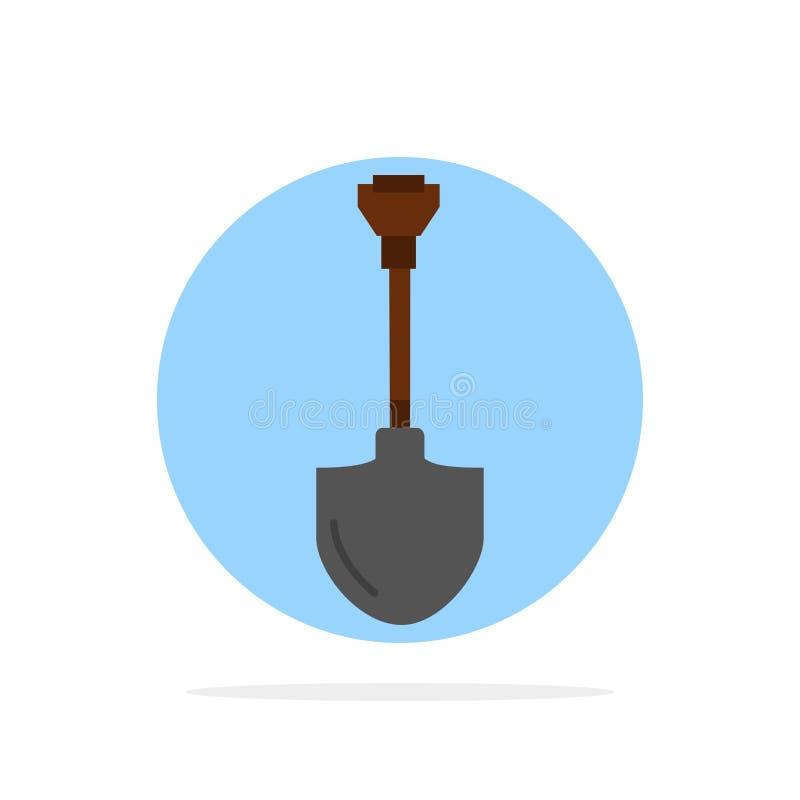 Showel,铁锹,工具,修理,开掘的抽象圈子背景平的颜色象 皇族释放例证