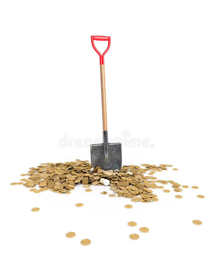 Showel with gold coins on white background stock photography