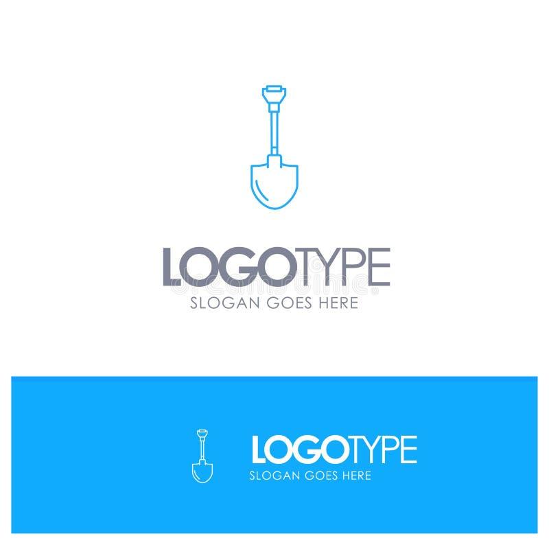 Showel, Shovel, Tool, Repair, Digging Blue outLine Logo with place for tagline vector illustration
