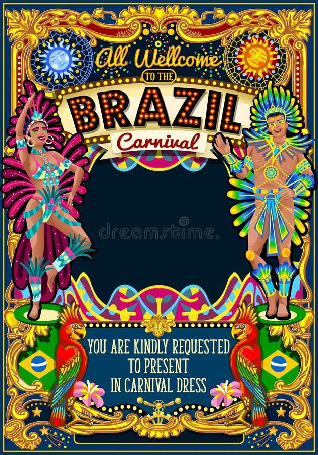 Showen för den Rio Carnival Poster Theme Brazil karnevalmaskeringen ståtar stock illustrationer