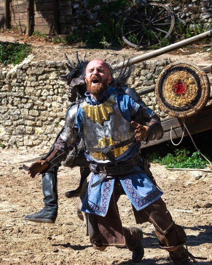 Showen: Legenden av riddare i Provins, Frankrike royaltyfria bilder