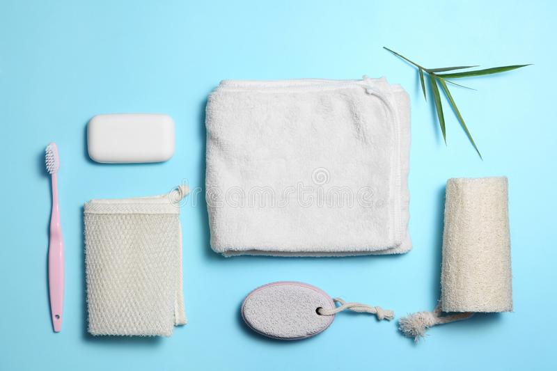 Shower accessories on blue background with a blank space for a text stock photography