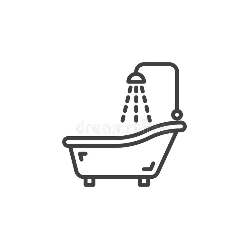 Shower Bath line icon, outline vector sign, linear pictogram isolated on white. stock illustration