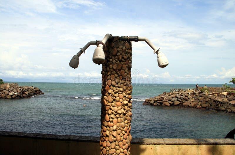 Shower at beach. Shower at Anyer Beach, Serang, Banten, Indonesia stock photography