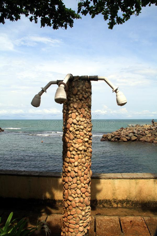 Shower at beach. Shower at Anyer Beach, Serang, Banten, Indonesia royalty free stock images