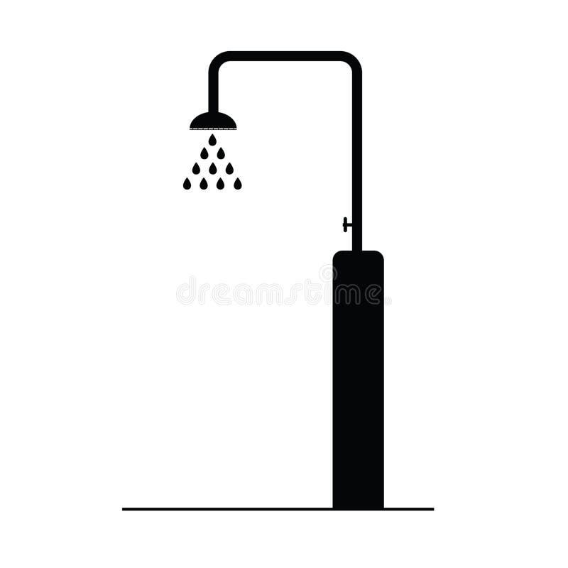Shower black icon vector illustration. On a white stock illustration