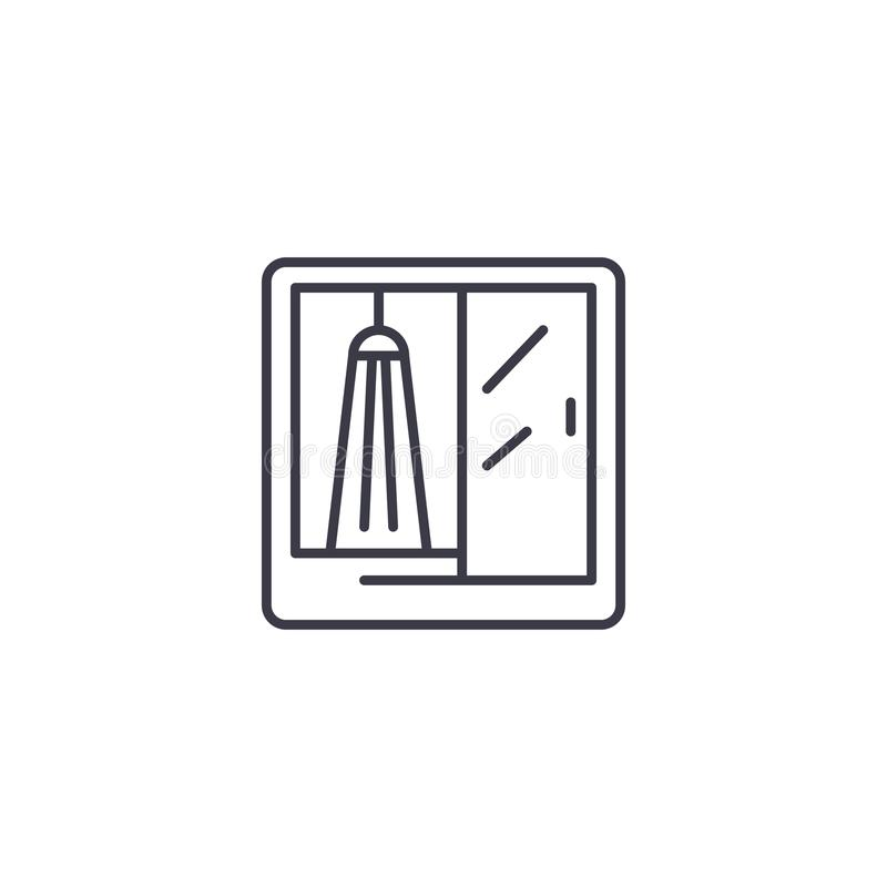 Shower booth linear icon concept. Shower booth line vector sign, symbol, illustration. royalty free illustration