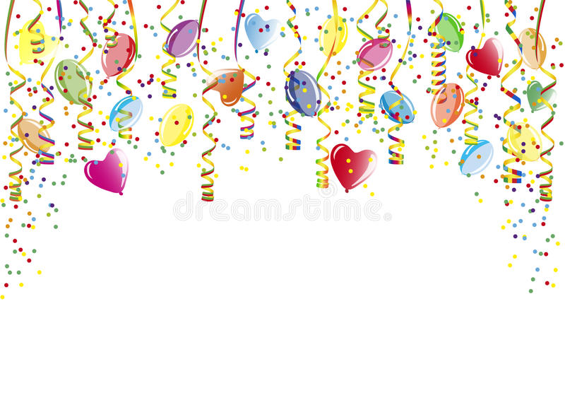 Shower of confetti, balloons and paper streamer royalty free illustration