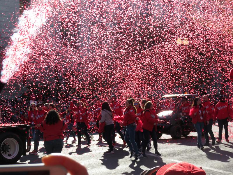 Shower of Confetti at the end of the Parade stock images