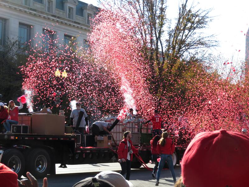 Shower of Confetti at the end of the Parade in Washington DC royalty free stock photo